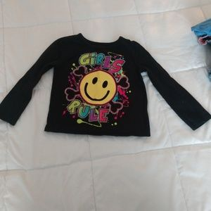 Girls Rule Smiley Face Long Sleeve